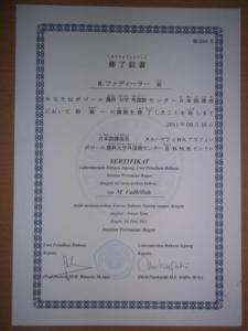 Sertifikat kursus Bahasa Jepang tk. Dasar 1 di UPT IPB