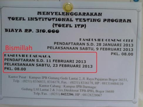 Pengalaman ikut TOEFL ITP IPB 23 Februari 2013